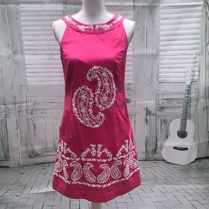 Lilly Pulitzer hot pink & white embroidered dress